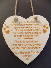 Best Friends Forever - Thank you, Heart sign plaque gift message present