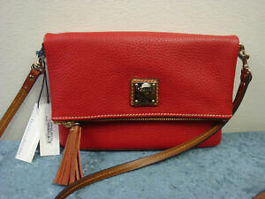 Dooney & Bourke Pebble Grain Foldover Zip Crossbody ZR0173~Red~NWT!!!