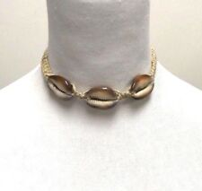 Cowrie Shell Choker Hemp Necklace Surfer Boho Festival Tiger Cowrie Shells large