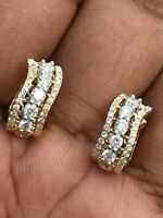 Pave 0,69 Cts Rund Brilliant Cut Diamanten Creolen Ohrringe In 750 Fein 18K Gold