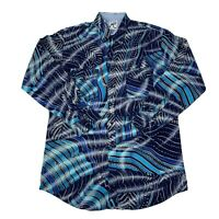 Roper Mens Size XL (XXL on tag) Blue Geometric Long Sleeve Western Shirt