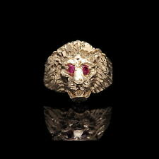 Lion's Head Men's Ring Solid 14K Yellow Gold 0.06tcw Created Ruby Eyes