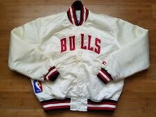Vintage Mens Starter Chicago Bulls Satin Jacket Size Large-White