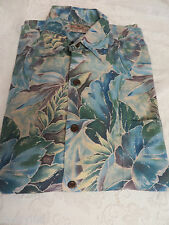 TORI RICHARD SHIRT LARGE Palm Print Style:  04034100 Pocket Blues Greens