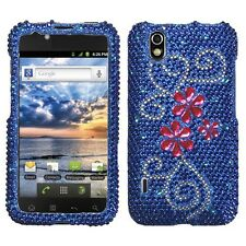 For LG Marquee Crystal Diamond BLING Hard Case Snap On Phone Cover Juicy Flowers