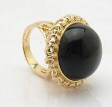 Size 7 Technibond Real Black Onyx Filigree Ring 14K Yellow Gold Clad Silver