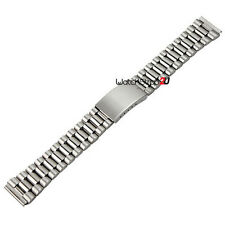 20mm Silver Straight End Stainless Steel Bracelet Watch Band Strap Folded links