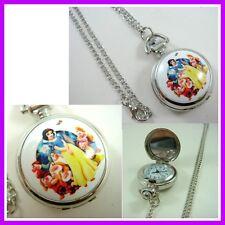 Princess Snow White Girl Women Ladies Pocket Watch Necklace + GIFT