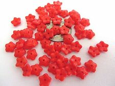 50 Opaque Orange Red Flower Caps Spacers Czech Glass Beads 7mm
