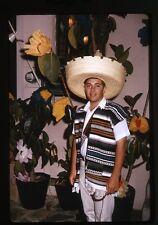 1960s Photo slide Beverly HIlls CA teen boy in fiesta costume Sombrero Hat