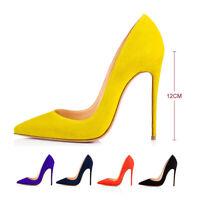 Onlymaker Women Pointed Toe Suede Slip On Wedding Stiletto High Heel Pumps Shoes