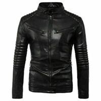 Tops Men's Casual pu-Leather Jackets Biker Motorcycle Coat Slim Fit Cool Outwear
