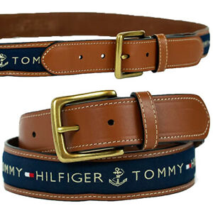 Tommy Hilfiger Men's Ribbon Inlay Belt Navy 11TL02X032