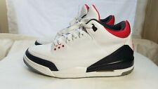 *Custom* Nike Air Jordan 3 Retro Fire Red White Black Men's Size 13