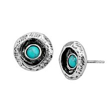 Silpada 'ringed Atoll' Compressed Turquoise Carved Earrings in Sterling Silver