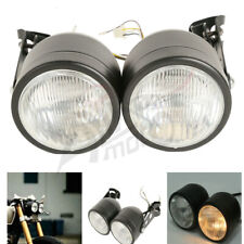 Twin Front Headlight w/ Brackets For Harley Dual Sport Motorcycle Street Fighter