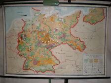 Schulwandkarte Wandkarte Karte Deutschland Wirtschaft Kohle Wald  ~1955 140x96cm