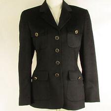 Escada Women Fashion Black Angora Wool Used Four Button Jacket Coat 36 US2