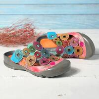 SOCOFY Women Summer Bohemian Genuine Leather Shoes Adjustable Hook Loop  *