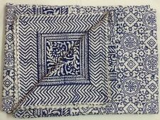 Indian Handmade Hand Block Blue Quilt Bedspread Kantha Cotton Queen Size