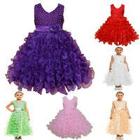 New Flower Girl Party Dress Pink Purple Green Ivory Red Peach 2 3 4 5 6 7 8 Year