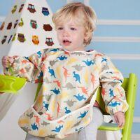 Baby Kids Waterproof Bibs Bandana Feeding Toddler Long Sleeve Apron Painting 2-6