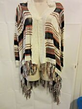 SELFIE COUTURE by TRENDOLOGY Womens XS S Cardigan Open Front Draped Fringe Boho