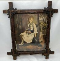 "Antique Black Forest Oak Leaf Hand Carved Picture Frame Tramp Art 19.5""H x 16.5"""