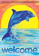 Carson Homes Glitter Garden Flag Double Sided 13x18 inch Dolphin Splash