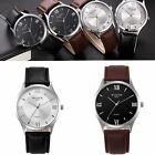 Stainless Steel Ultra-thin Leather Band Wristwatch Waterproof Quartz Watch
