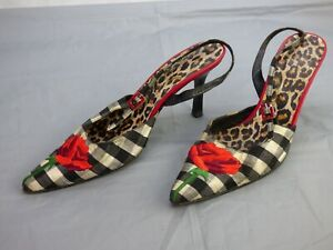 Beverly Feldman Russell Bromley Checked Floral Rose Slingback Heels UK 5 Shoes