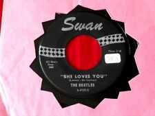 BEATLES~ SHE LOVES YOU~ LARGE PRINT~NO DON'T DROP OUT~ I'LL GET YOU ~ POP 45