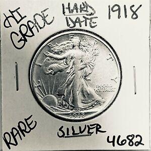1918 LIBERTY WALKING SILVER HALF DOLLAR HI GRADE U.S. MINT RARE COIN 4682