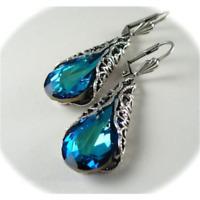 Women 1 Pair Blue Sapphire Gem Feather Drop Dangle Earrings Wedding Jewelry Gift