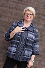 0260 Damen Strickjacke mit Schalkragen Übergröße 52 schwarz-grau 3/4 Arm