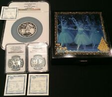 1996 RUSSIA Silver Proof Tchaikovsky Nutcracker Ballet 3 coin Set Box COA NGC