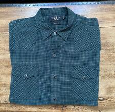 Ralph Lauren RRL Shirt Men's XL Green Plaid Flannel Western Snap Cowboy