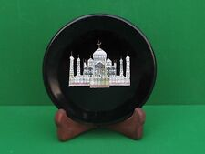 "8"" Black Marble Plate Inlay PietraDura Taj Mahal Handmade for Home Decor"