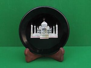 "8"" Black Marble Plate Inlay Taj Mahal Handmade for Home Decor"