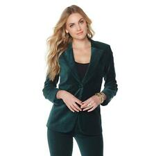 "DG2 by ""Diane Gilman"" Woven Stretch Velvet Pine Green Large Sz Blazer HSN $99.90"