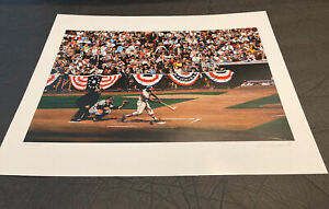 """EXCEPTIONAL """"1957 WORLD SERIES"""" HANK AARON BILL PURDOM SIGNED/#'d LITHOD PRINT"""