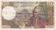 Billet banque 10 Frs VOLTAIRE 07-12-1972 U D.842 état voir scan