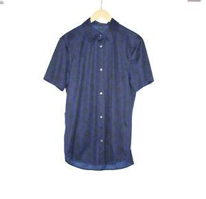 Costume National Homme Size 54 Blue Retro Print Short Sleeve Button Shirt