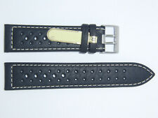 Di-Modell Impermeable perforado 22 mm Negro reloj banda correa Rallye Wapro Beige