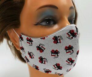 Men's Face Mask - Train Print - Double Layer Cotton - Reusable Washable - Travel