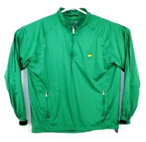 Masters Tech 1/4 Zip Pullover Windbreaker Jacket Augusta National Green Large L