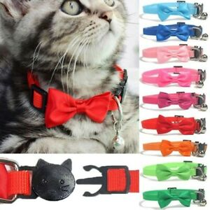 Pet Bow Collar Nylon Ribbon Multicolor w/Bells Pet Cat Collar Safety Buckle