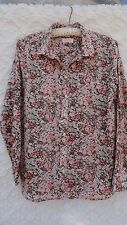 Loft Blouse Misses L Cotton Ivory White Green Pink Floral Softened Fabric MINT