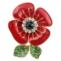 2019 Poppy Pin Badges Enamel Crystal Lapel Brooch Flower