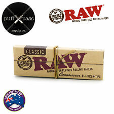RAW CLASSIC CONNOISSEUR 1 1/4 REGULAR ROLLING PAPERS + TIPS - SMOKING TOBACCO